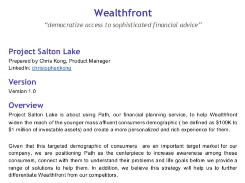 Wealthfront Product Requirements Document (PRD)