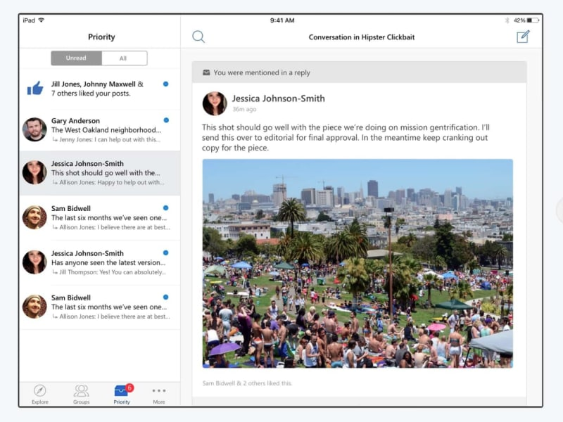 Yammer iPad Redesign