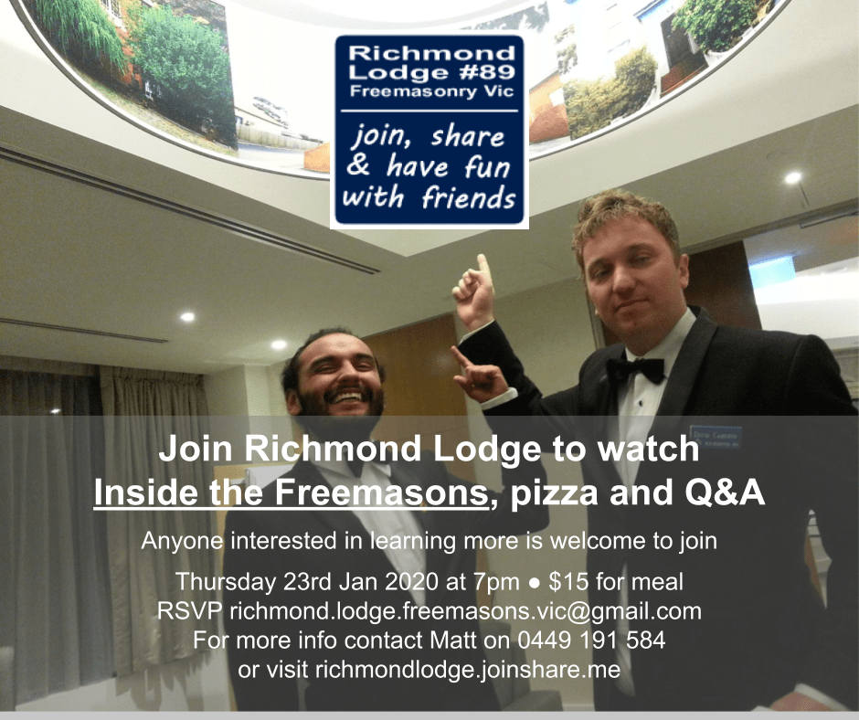 Join Richmond Lodge to watch Inside the Freemasons, pizza and Q&A