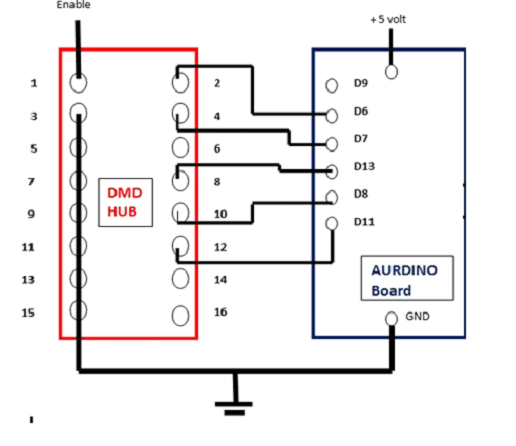 Circuit diagram of dot matrix display interfaced with arduino