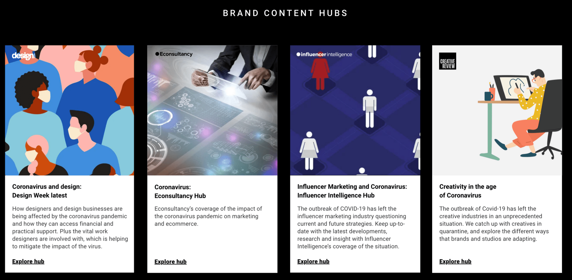 Econsultancy Design Week Influencer Intelligence and Marketing Week brand content hubs support their Lowdown Webinar series