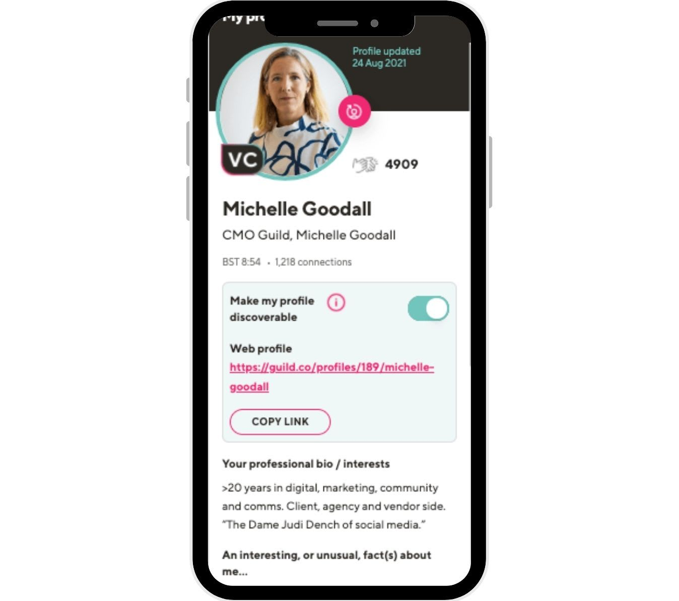 Guild profiles provides lots of space for your personal information as well as room for an interesting fact - often a good conversation starter to help with online networking