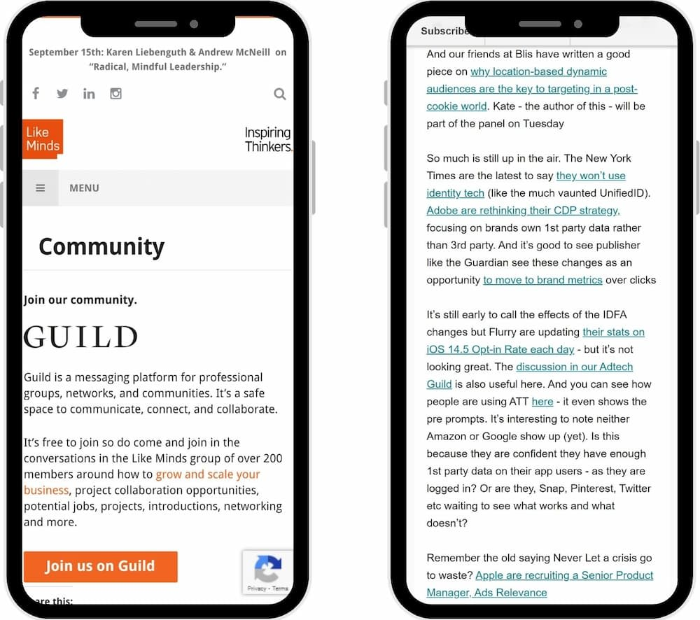 Like Minds and Fix both make sure their readers know about their Guild communities