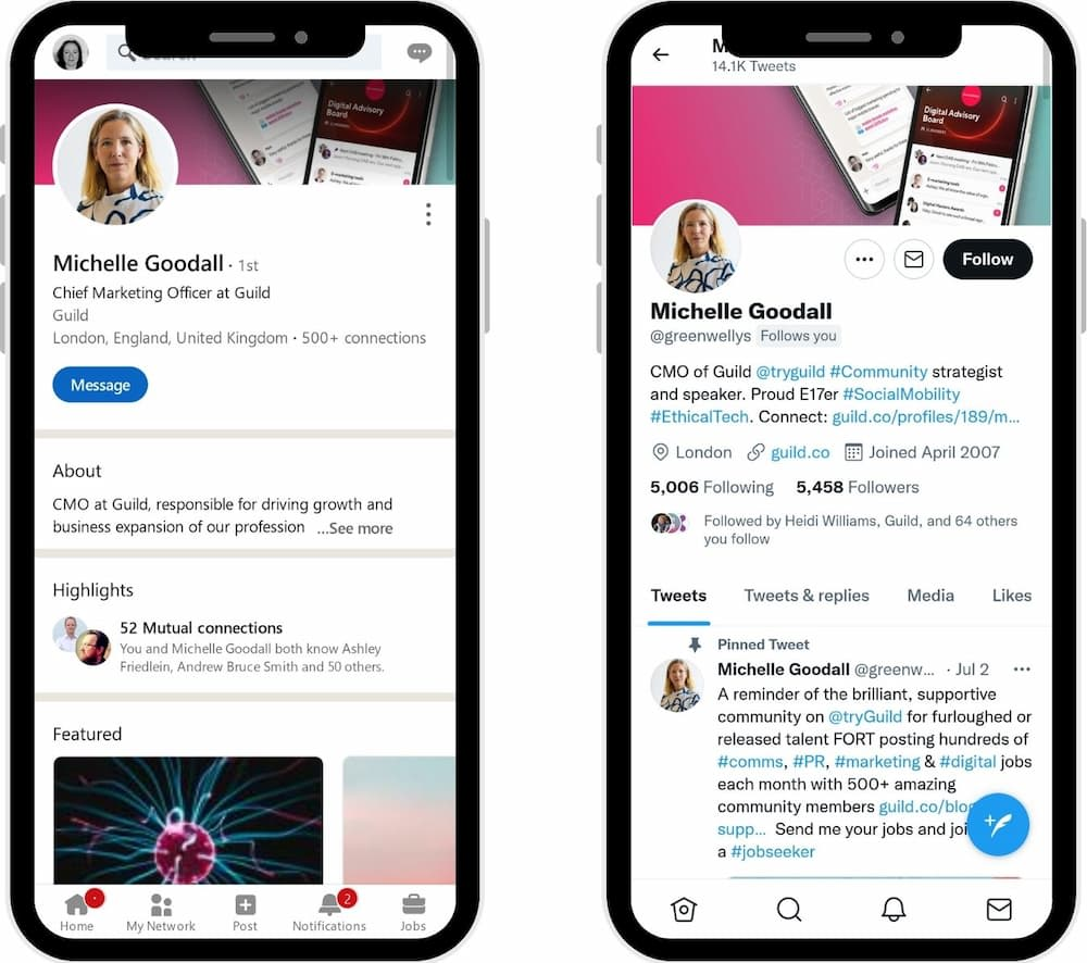 Examples of Twitter and LinkedIn profiles - Twitter Profiles or Bios are limited to 160 characters