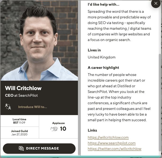 Will Critchlow CEO of SearchPilot profile on Guild