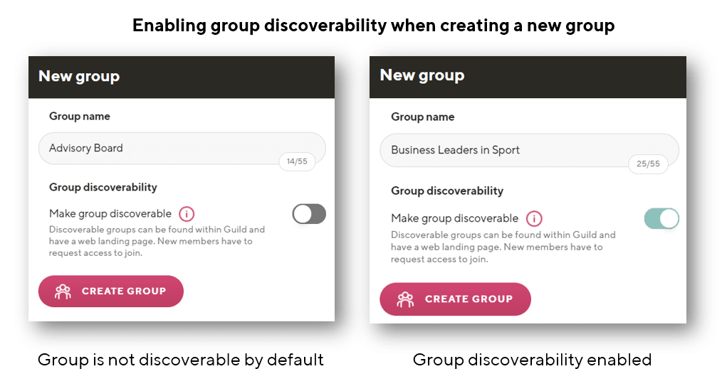 Enabling group discoverability on Guild