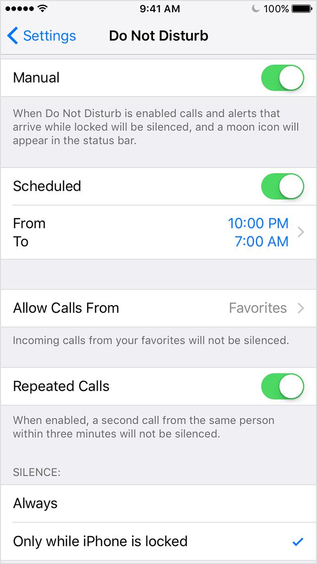 """Função """"não perturbe"""" no iPhone 6"""