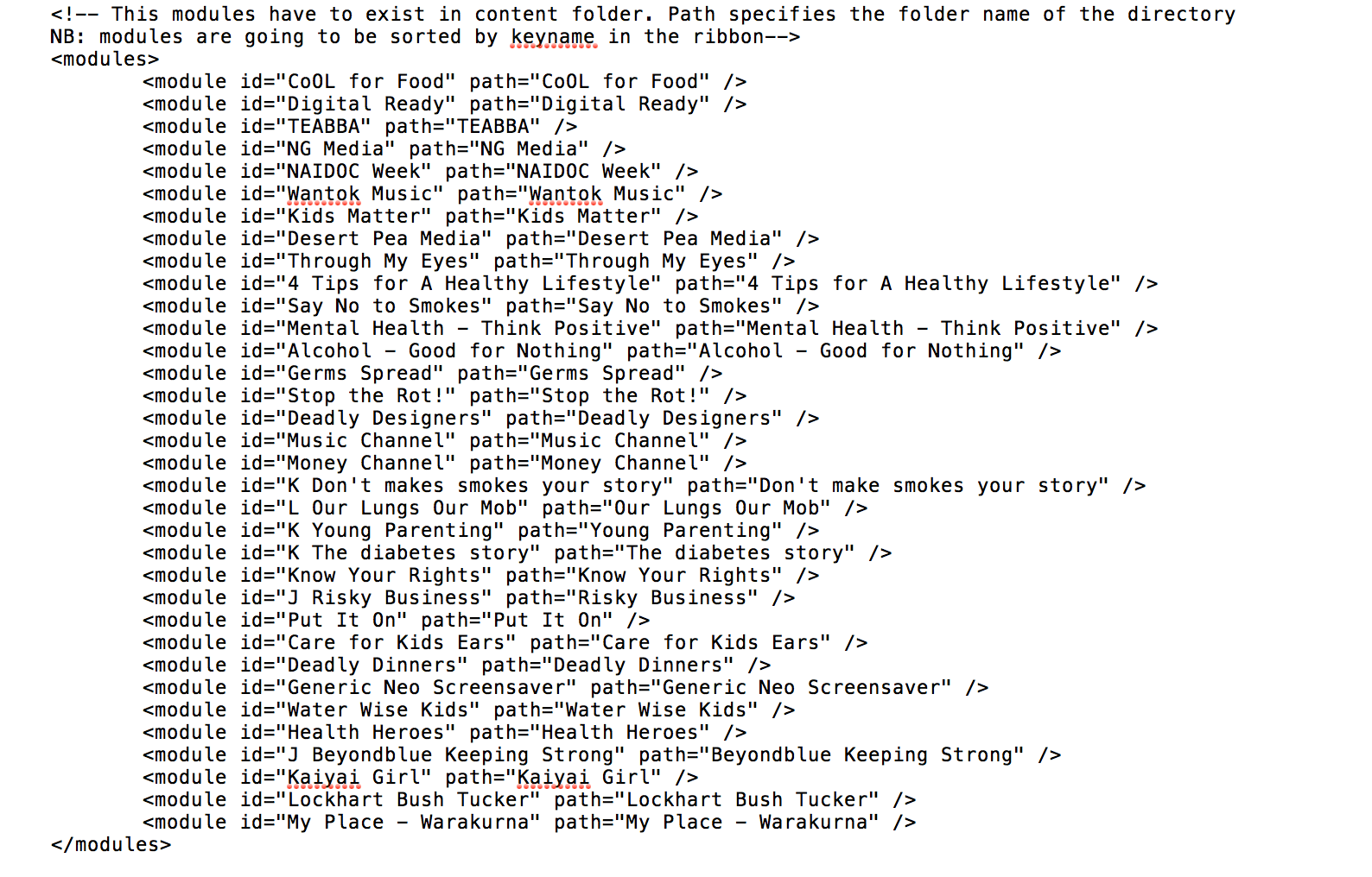 A sample XML hub file - well the part we need to manipulate