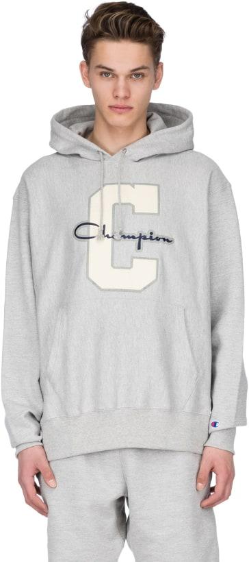 1e9f9e7a847d Champion  Reverse Weave Varsity C Logo Pullover Hoodie - Oxford Grey ...