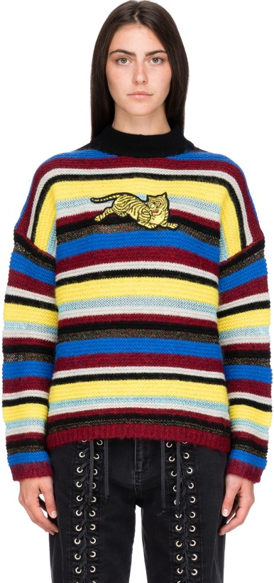 1a87a609d1787 Kenzo: Jumping Tiger Stripe Pullover - Multicolor | Influence U