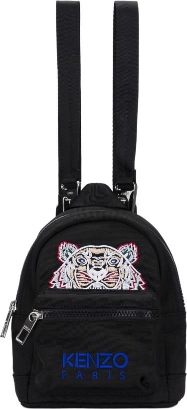 78049790 Kenzo: Mini Tiger Canvas Backpacks - Black | influenceu