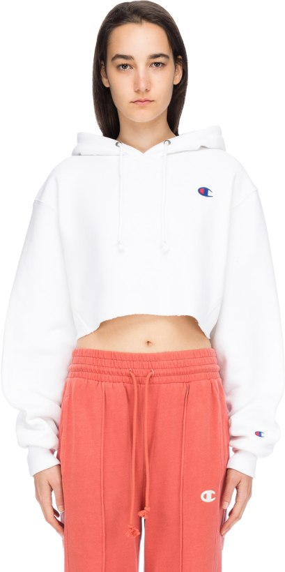 2f34577542d2 Champion  Reverse Weave Cropped Cut off C Logo Hoodie - White ...