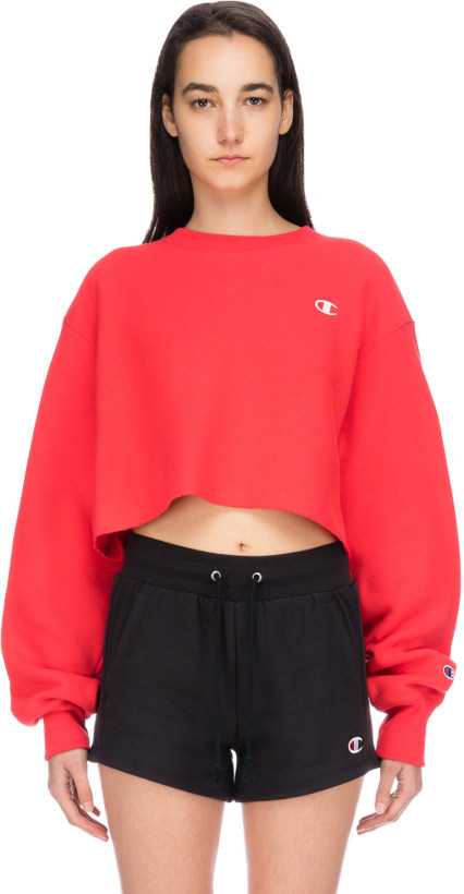 308b7c45 Champion. Reverse Weave Cropped Cut Off C Logo Pullover - Team Red Scarlet
