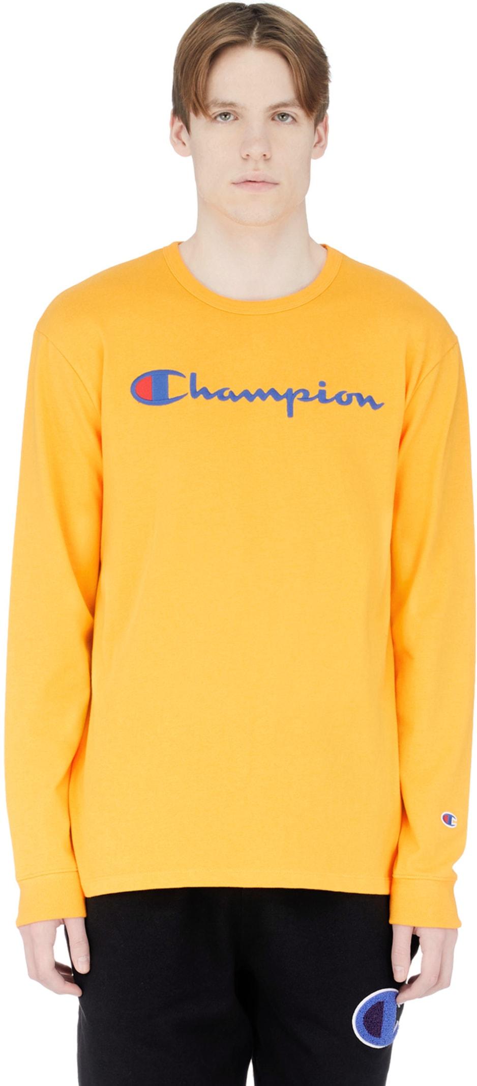 085c8d760eb6 Champion: Long Sleeve Script Logo T-Shirt - C Gold | influenceu