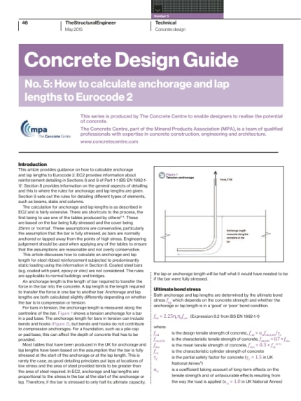 Concrete Design Guide  No  5: How to calculate anchorage and