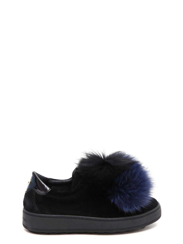 Sneaker Velours Fourrure De Renard Pompom Modèle Bleu Noir Philippe FjvOc