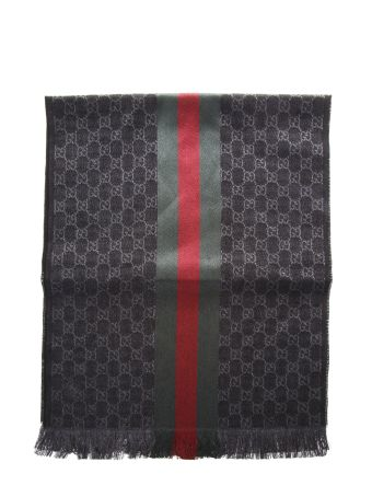 Gucci Gg Jacquerd Wool Scarf With Detail