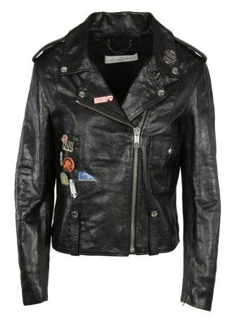 Golden Goose Badge Emblazoned Biker Jacket
