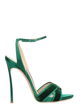 Casadei Emerald Suede Satin Sandals