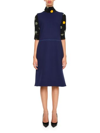 Crepe Dress With Silk Sleeves