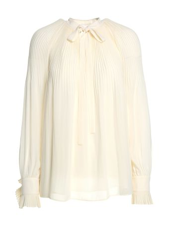 Tory Burch Meryl Pussybow Pleated-crepe Blouse