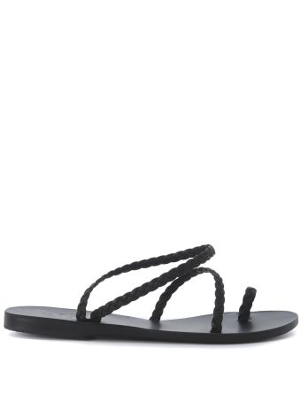Ancient Greek Sandals Eleftheria Black Woven Leather Sandal