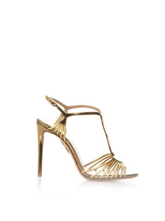 Aquazzura Josephine Gold Leather Sandals