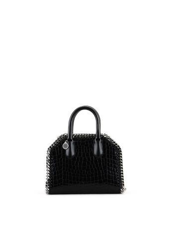Black Croco Print Falabella Mini Box Bag