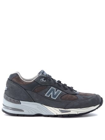 New Balance 991 Grey Suede And Leather Sneaker