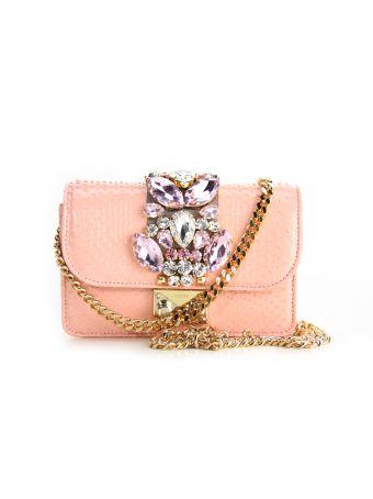 Gedebe Pink Mini Cliky Python Textured Bag