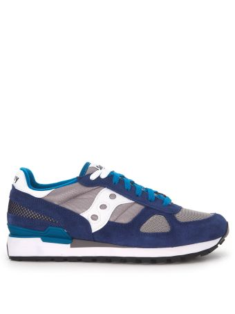 Sneaker Saucony Shadow In Suede And Grey And Blue Mesh Fabric