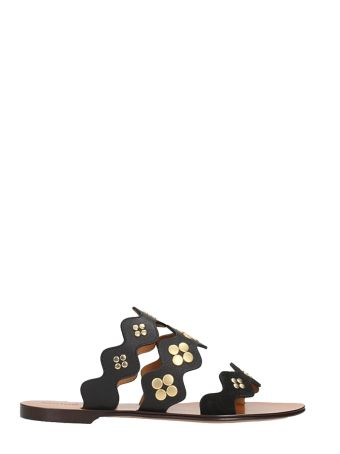 Chloé Black Suede And Leather Flat Sandals