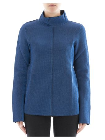 Blue Polyester Turtleneck