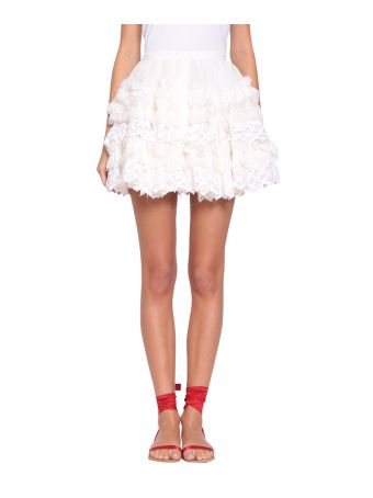 WANDERING Silk Ruffled Skirt