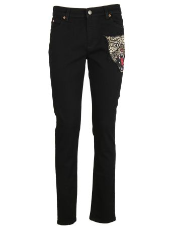 Gucci Angry Cat Embroidered Jeans