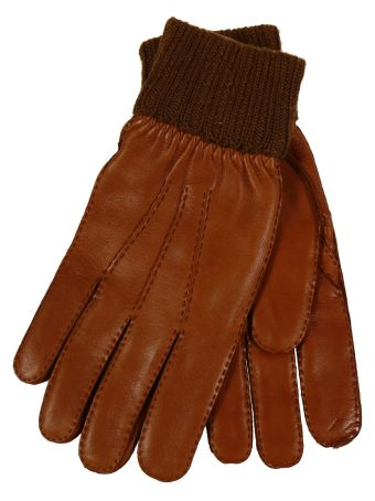 Restelli Deer Gloves With knitted cuff Stitching In Contrast