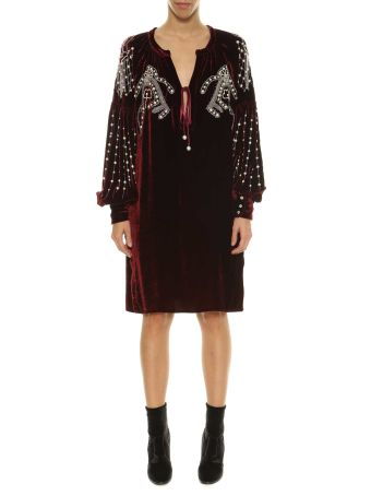 Wandering Velvet Dress With Embroidery