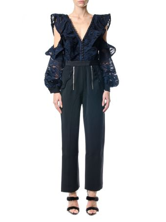 self-portrait Camo Lace Frill Jumpsuit