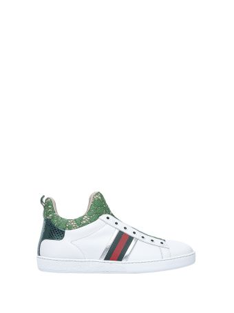 Gucci High-top White And Green Sneakers