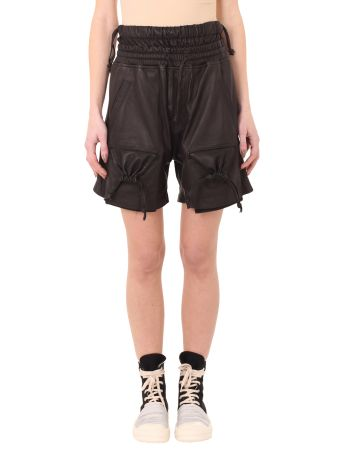 Str 10 D Leather Gathered Pockets Shorts