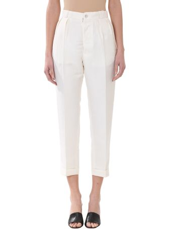 Maison Margiela Beige Cotton And Linen Pants