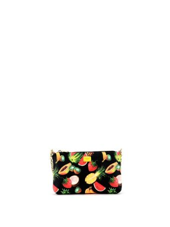 Black Tropical Print Micro Bag