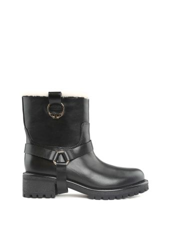 Tory Burch Henry Shearling And Leather Biker Boots