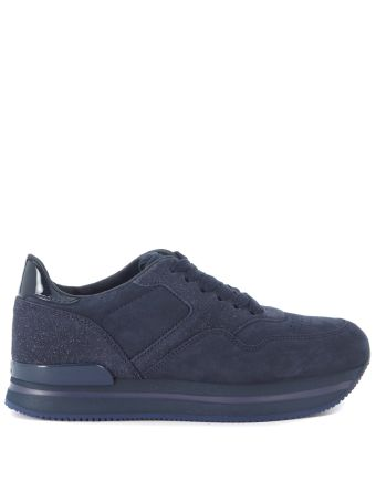 Sneaker Hogan H222 In Suede And Blue Glitter