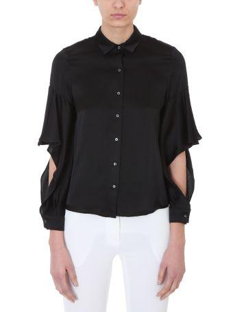 L'Autre Chose Black Silk Cut Out Shirt