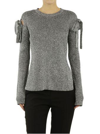 Red Valentino Lurex Bow Sleeve Sweater