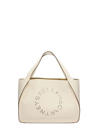 Stella McCartney Perforated Logo White Faux-leather Tote