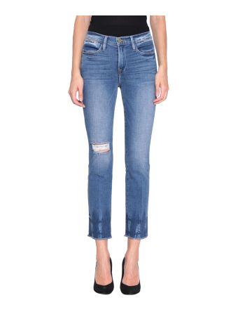 Frame Le High Straight Cotton Denim Jeans