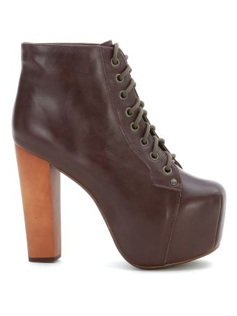 Jeffrey Campbell Lita Brown Leather Ankle Boot