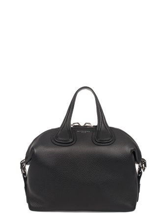 Black Small Nightingale Hammered Leather Top Handle Bag